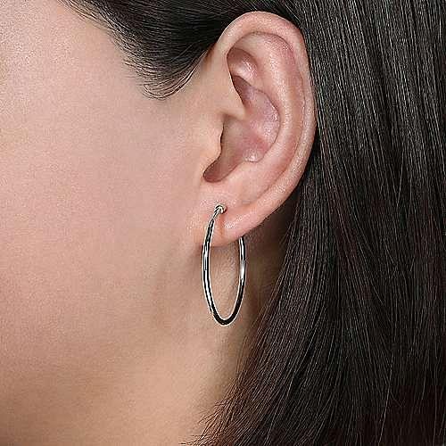 Plain 14K White Gold 30mm Round Classic Hoop Earrings