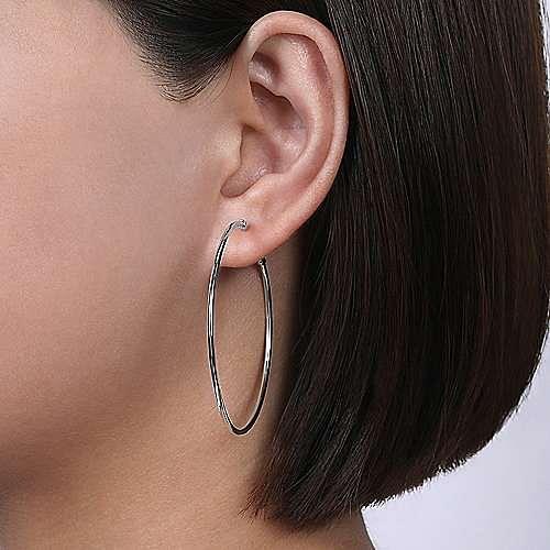 Plain 14K White Gold 50mm Round Classic Hoop Earrings