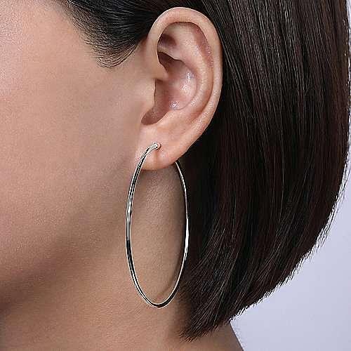 Plain 14K White Gold 60mm Round Classic Hoop Earrings
