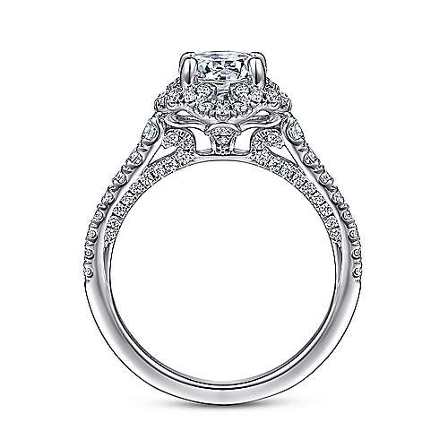Plaisir 18k White Gold Round Halo Engagement Ring angle 2