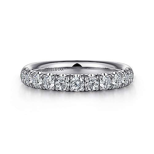 Platinum 11 Stone French Pavé Diamond Wedding Band