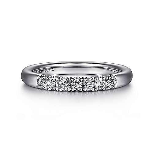 Platinum 7 Stone French Pavé Diamond Wedding Band