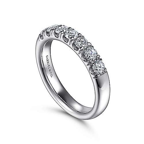 Platinum 7 Stone French Pavé Diamond Wedding Band