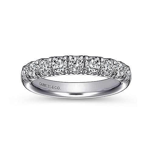 Platinum 9 Stone French Pavé Diamond Wedding Band