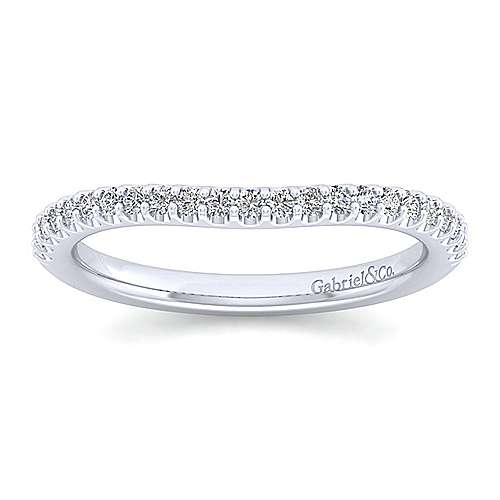 Platinum Contemporary Curved Wedding Band angle 5