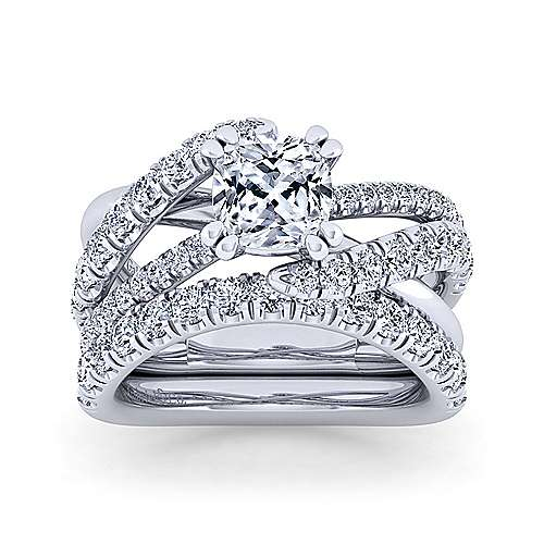 Platinum Cushion Cut Bypass Diamond Engagement Ring