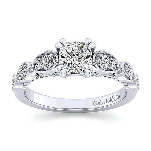 Platinum Cushion Cut Diamond Engagement Ring
