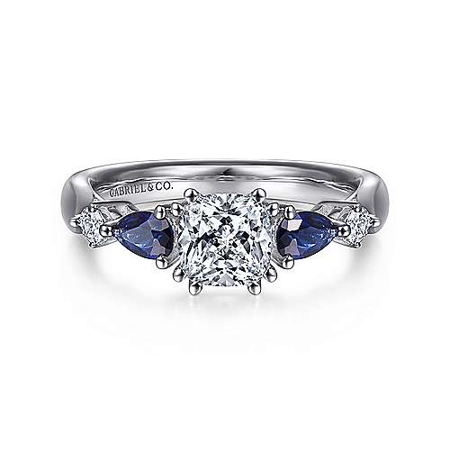 Platinum Cushion Cut Five Stone Sapphire and Diamond Engagement Ring
