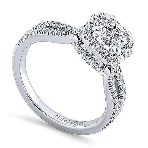Platinum Cushion Cut Halo Engagement Ring angle 3