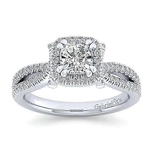 Platinum Cushion Cut Halo Engagement Ring angle 5