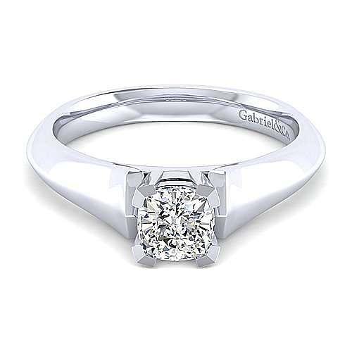 Platinum Cushion Cut Solitaire Engagement Ring