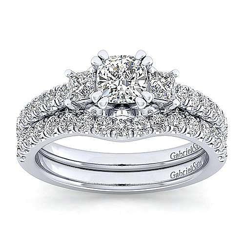 Platinum Cushion Cut Three Stone Diamond Engagement Ring
