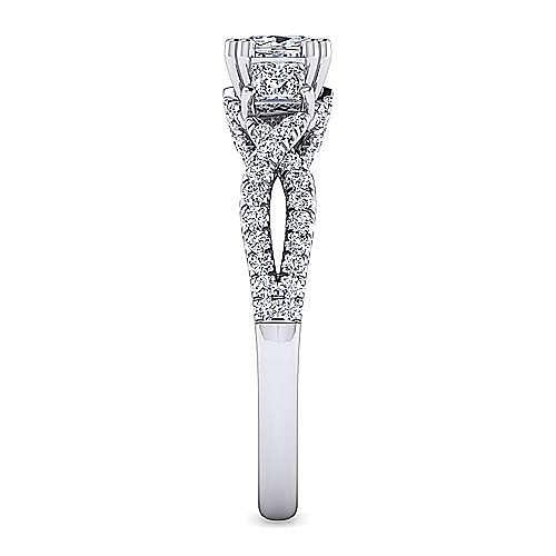 Platinum Cushion Cut Three Stone Twisted Diamond Engagement Ring