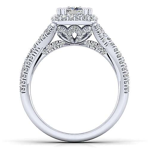 Platinum Cushion Halo Diamond Engagement Ring