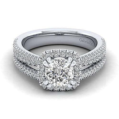Platinum Cushion Halo Diamond Engagement Ring