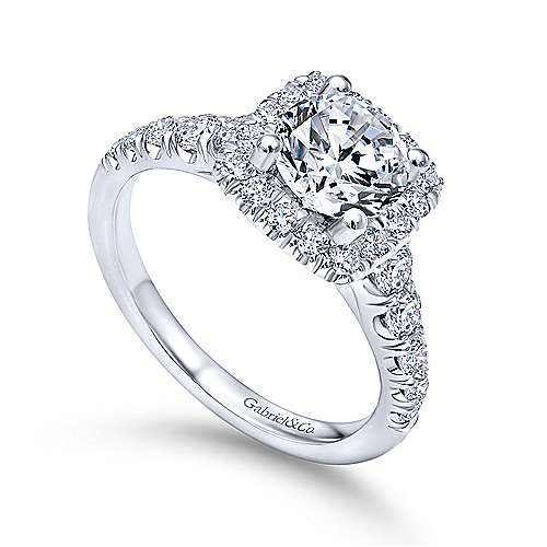 Platinum Cushion Halo Round Diamond Engagement Ring