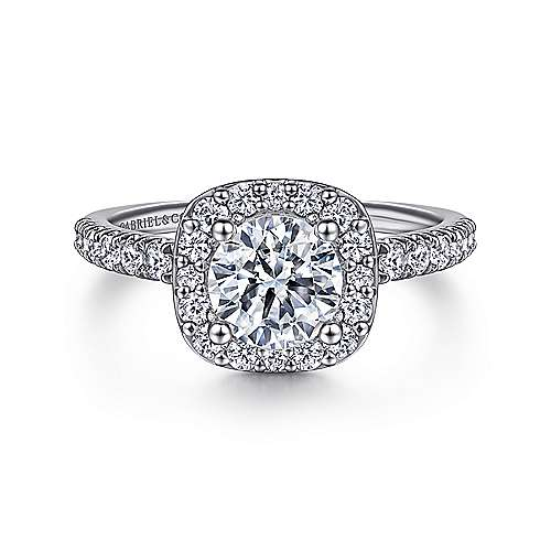 Gabriel - Platinum Cushion Halo Round Diamond Engagement Ring