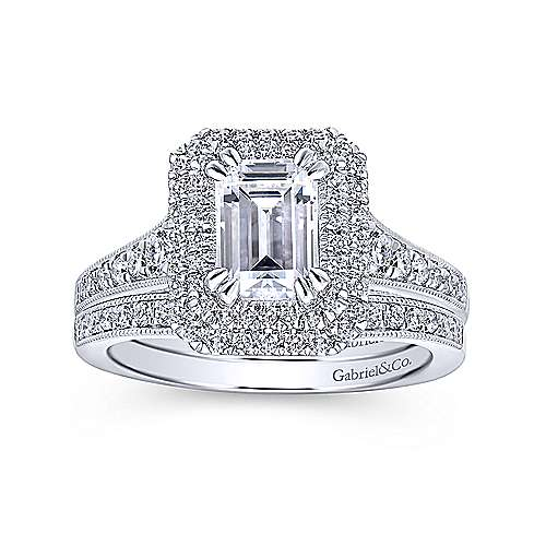 Platinum Double Halo Emerald Cut Diamond Engagement Ring