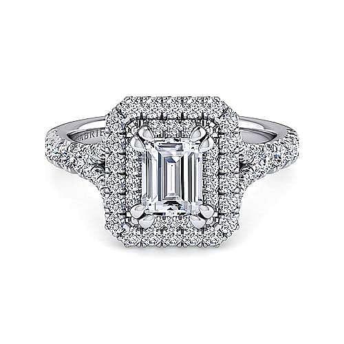 Platinum Double Halo Emerald Cut Diamond Engagement Ring