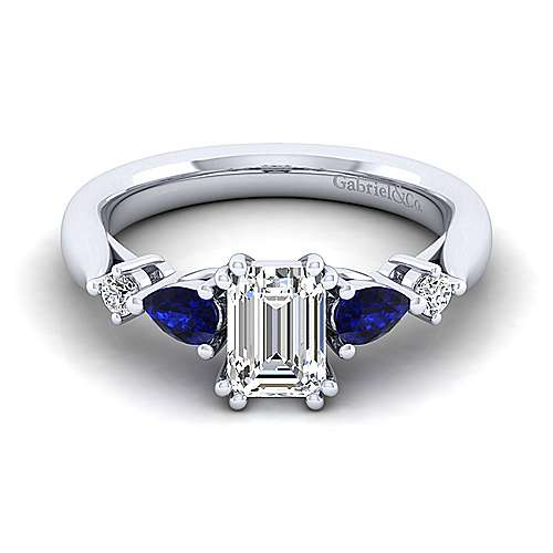 Platinum Emerald Cut Five Stone Sapphire and Diamond Engagement Ring