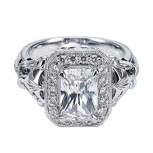 Platinum Emerald Cut Halo Engagement Ring angle 1