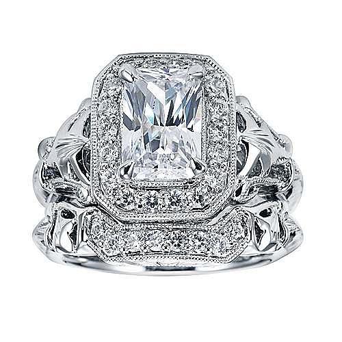 Platinum Emerald Cut Halo Engagement Ring angle 4
