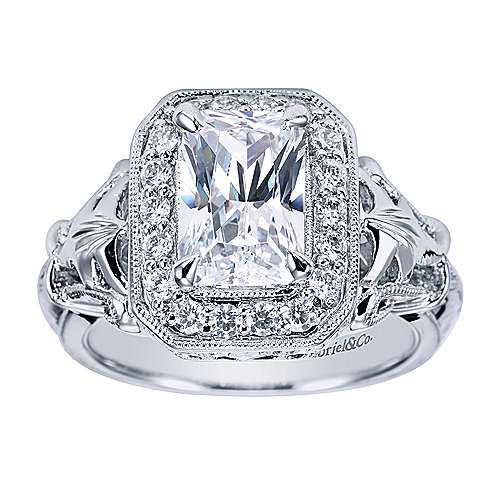 Platinum Emerald Cut Halo Engagement Ring angle 5
