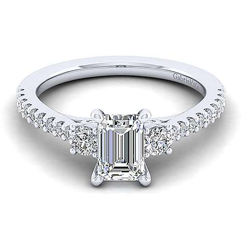 Platinum Emerald Cut Three Stone Diamond Engagement Ring
