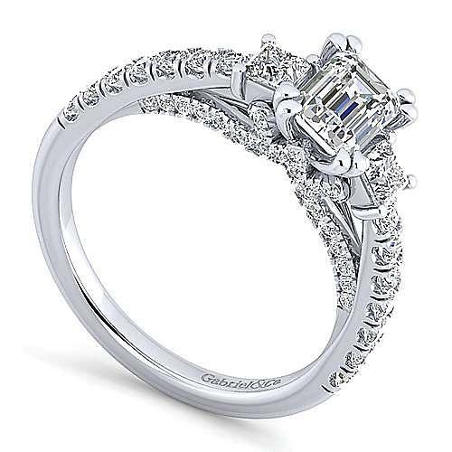 Platinum Emerald Cut Three Stone Diamond Engagement Ring