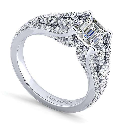Platinum Emerald Cut Wide Band Diamond Engagement Ring