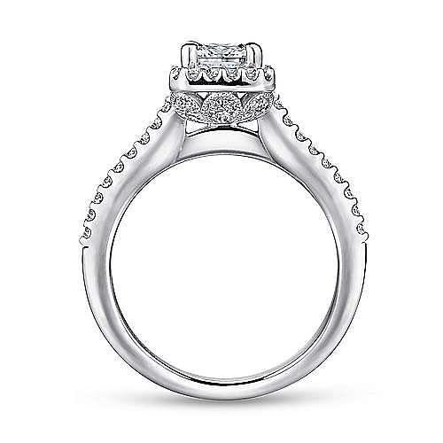 Platinum Emerald Halo Diamond Engagement Ring