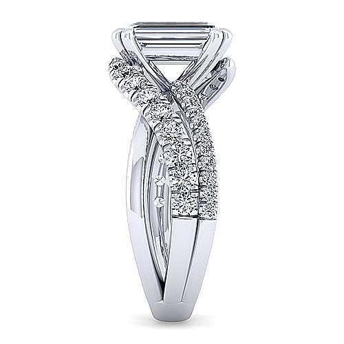 Platinum Free Form Emerald Cut Diamond Engagement Ring
