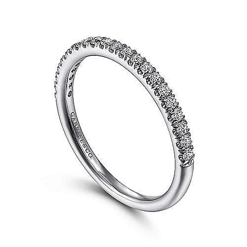 Platinum French Pavé Diamond Wedding Band