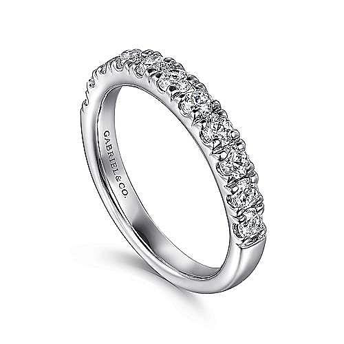 Platinum French Pavé Set Diamond Wedding Band