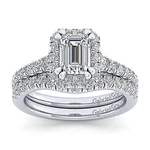 Platinum Halo Emerald Cut Diamond Engagement Ring