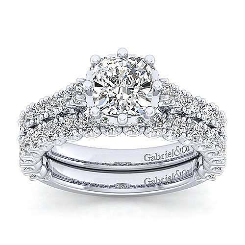 Platinum Hidden Halo Cushion Cut Diamond Engagement Ring