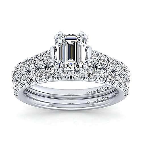 Platinum Hidden Halo Emerald Cut Diamond Engagement Ring