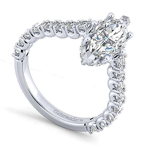 Platinum Hidden Halo Marquise Shape Diamond Engagement Ring