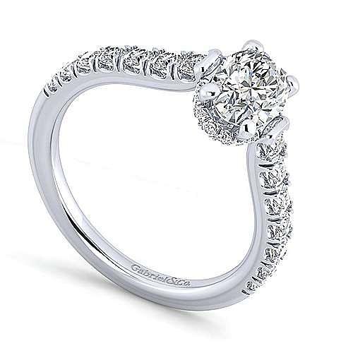 Platinum Hidden Halo Oval Diamond Engagement Ring