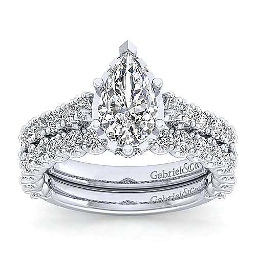 Platinum Hidden Halo Pear Shape Diamond Engagement Ring