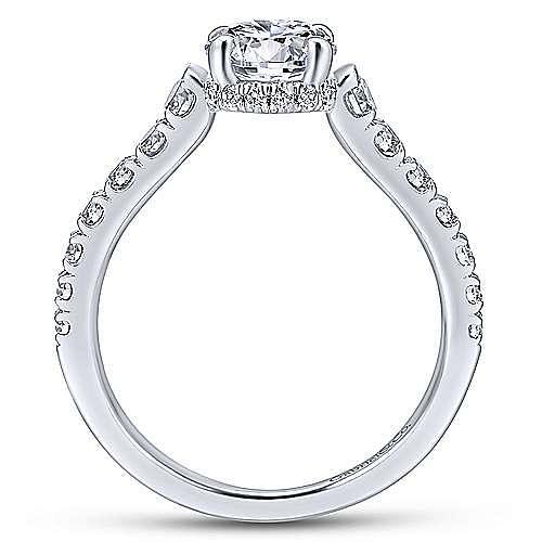 Platinum Hidden Halo Round Diamond Engagement Ring