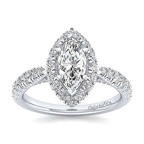 Platinum Marquise Halo Diamond Engagement Ring