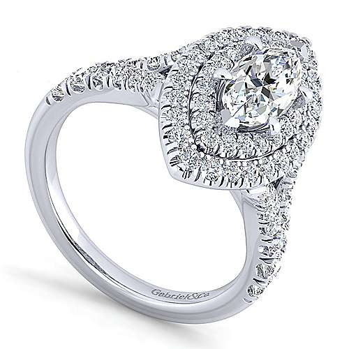 Platinum Marquise Shape Double Halo Diamond Engagement Ring