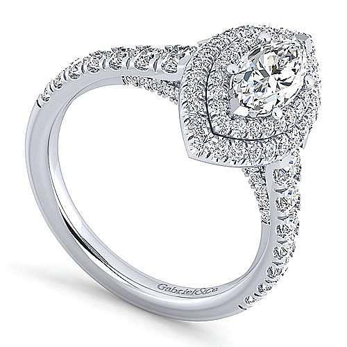 Platinum Marquise Shape Double Halo Diamond Engagement Ring