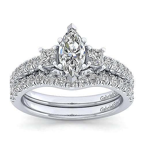 Platinum Marquise Shape Three Stone Diamond Engagement Ring