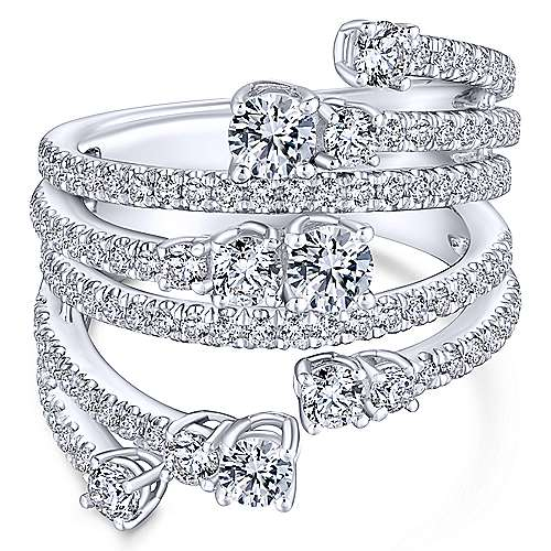 Platinum Multi Row Diamond Statement Ring