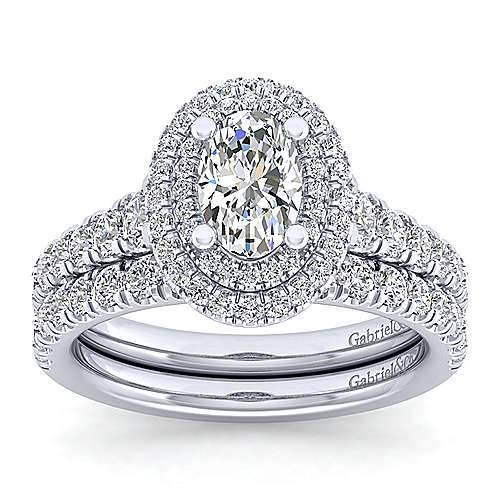 Platinum Oval Double Halo Diamond Engagement Ring