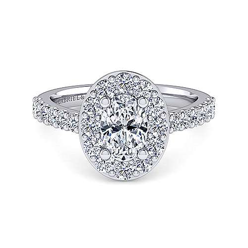 Platinum Oval Halo Engagement Ring angle 1