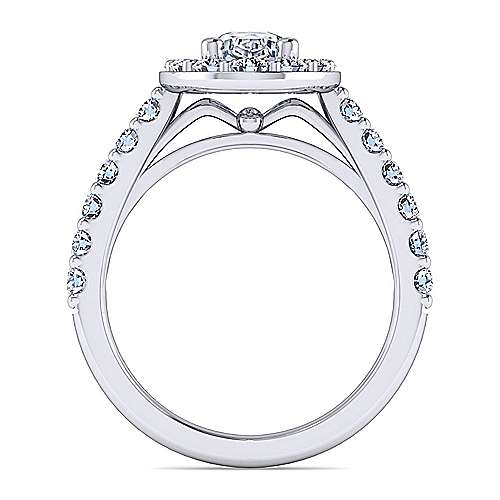 Platinum Oval Halo Engagement Ring angle 2