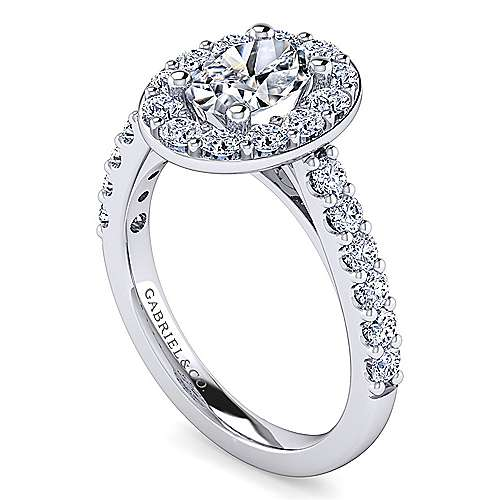 Platinum Oval Halo Engagement Ring angle 3